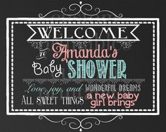 Custom Chalkboard welcome to baby shower by CustomPrintablesNY, $5.00