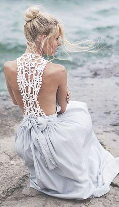 Grey and White Crochet Maxi Dress // Follow us on Facebook & Instagram: @thebohemianwedding // #bohowedding #bridesmaid #wedding