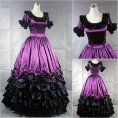 Wow. Purple, ruffled Civil War fancy dress O_O