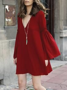 DESCRIPTION Fabric :Fabric has no stretch Season :Fall Pattern Type :Plain Sleeve Length :Long Sleeve Color :Red Dresses Length :Short Style :Boho Material :Polyester Neckline :V neck Silhouette :Shif