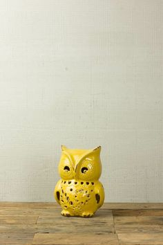 DECORATIVE-OWL-YELLOW $16.00 Owl Home Decor, Owl House, Planter Pots, Table Lamp, Collections, Yellow, Table Lamps, Lamp Table