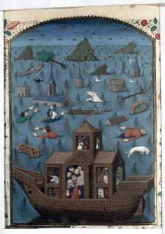 The Flood, The City of God (BNF Fr. 28, fol. 66v), third quarter of the 15th century