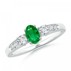 Angara Split Shank Three Stone Natural Emerald Ring in 14k Yellow Gold Xq4pvj0TLy