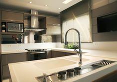 Cozinha Fendi: Cozinhas modernas por Suelen Kuss Arquitetura e Interiores