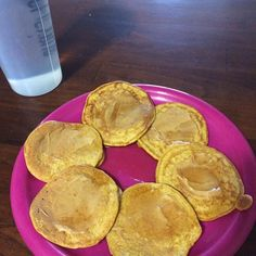 Pancakes and a big glass of water for breakfast. These are some of the best pancakes I've made thanks to @jessieschiefer  I tried her recipe and it's .com  Just oats pumpkin egg whites and protein powder and then I topped mine with PB2 and SF syrup. Happy Saturday to me!  #pancakes #pescience #selectprotein #macros #newfave #preworkout #breakfast #sogood by jodibowe