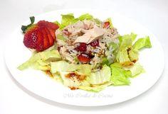 Ensalada de arroz con fruta, pollo y vinagreta de fresas