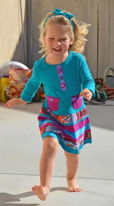 sewing pattern for girls toddlers SIMPLY BIASED easy t-shirt dress made with fat quarters.