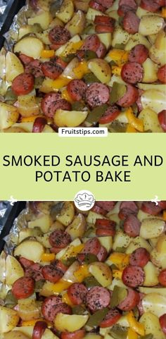 You'll Need: 1 package of sliced Eckrich skinless smoked sausage. Sausage Potatoes And Peppers, Sausage And Potato Bake, Potatoes In Oven, Smoked Sausage Recipes, Recipe For Smoked Sausage And Potatoes, Stuffed Green Peppers, Recipes With Green Peppers, Green Pepper Recipes, Potato Recipes