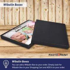 Product Idea: Protect your memories in a beautiful gift type black box. Simply add Wibalin Box to your order in the Shopping Cart.