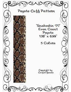 Snakeskin II ist ein PDF-Peyote-Stich-Muster mit 11/0 Miyuki Delicas.  Das PDF-Muster enthält Folgendes: 1. Musterung 2. Große nummeriert und