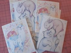 Greeting cards featuring illustrations by Vena Carr. Handmade & printed with love.