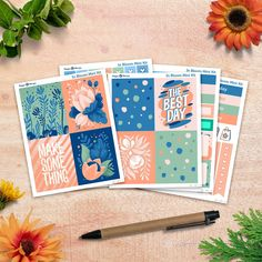 In Bloom - Mini Kit planner stickers sheets) - for Happy Planner and Erin Condren Life Planner, Happy Planner, Gel Pens, Erin Condren, Planner Stickers, Original Artwork, Bloom, Kit, Floral