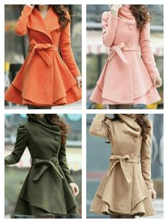 Women's Wool Polyester Blend Double Breasted Orange Khaki Beige Pink Green Coat Jacket