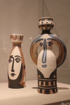 """""""Face"""" and """"Woman Lamp"""" 1955 Pablo Picasso, turned vase, white earthenware clay, decoration in engobes, glaze inside (on display at the Fort Lauderdale Museum of Art)"""