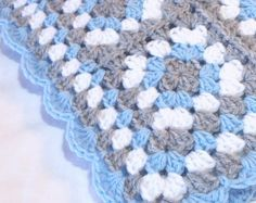 Granny Square Baby Blanket Blue and Grey Gray Crochet Stroller Car Seat Crib Afghan Handmade Homecoming Shower Gift Photo Prop Easy Crochet Blanket, Baby Afghan Crochet, Manta Crochet, Granny Square Crochet Pattern, Crochet Designs, Crochet Patterns, Crochet Flower Tutorial, Baby Girl Blankets, Crochet Projects