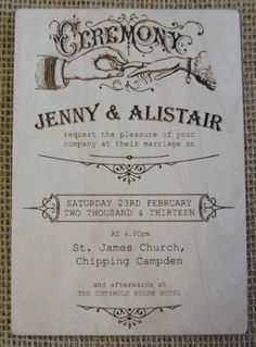 Vintage Wooden Wedding Invitation
