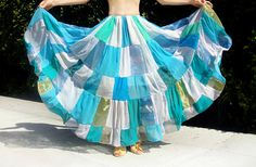 Ameynra Patchwork fashion skirt light-blue white chiffon