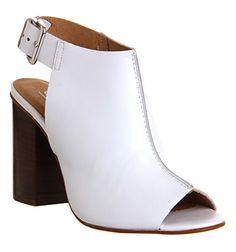 Office Garnet Cuff Block Heel White Leather - Mid Heels