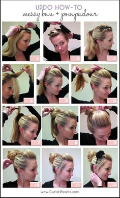 Updo How-To: Messy Bun w/ Pompadour Hair tutorials