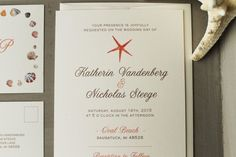 Wedding Card. Beach Wedding Invitation Card Concept. Red Starfish Wedding Invitation Card Design Include White Background Card With Black Font Color And Simple Wording