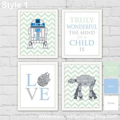 AT-AT  R2-D2 Star Wars Nursery Art Print. Star by waiwaiartprints