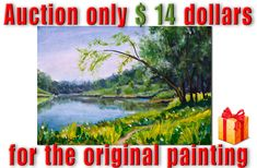 Original painting Blue river in sunny forest - Only $14 - hand painted, signed! #Realism