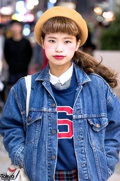 Denim Jacket Over Sweashirt in Harajuku