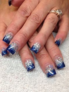 Snowflake nails but with red and silver wouldn't this look perfect on Elsa?