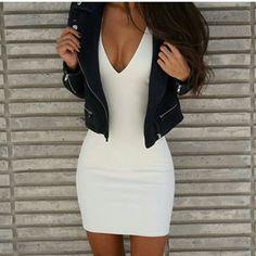 white dress + jacket = casual yet sorta sexy