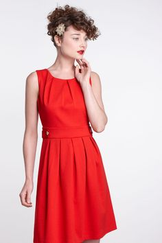 Hi There by Karen Walker | Crimson pleated ponte dress with gold buttons