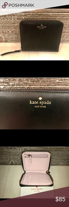 NWT ! KATE SPADE DARCI WEIGHT PLACE WALLET !! NWT. KATE SPADE mini Darci wright place wallet feathers smooth leather with matching trim. 14-karat gold plated hardware. Gift box included as well as tags.  Inside is a beautiful plum dawn color ( light blush) with black leather exterior. Inside color is stunning. Has 8 slip pockets, 1 zip coin pocket, 1 bifold pocket, and 1 slip pocket on the outside of the wallet. kate spade Bags Wallets