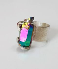 Titanium/rainbow aura quartz crystal ring #ring #jewellery