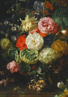 Rachel Ruysch. Detail from Flower Still Life, 1710.
