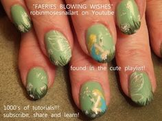 Fairies with dandelions nails. robin moses magic mint wishie eyeshadow nail art design tutorial 624