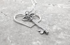Necklace Heart and Key Long Sterling Silver by GirlBurkeStudios