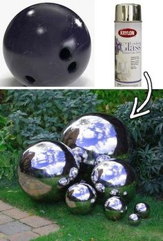 How to Make Mirrored Gazing Balls for the Garden The Homestead Survival: Homemade Decorative Concrete Garden Balls DIY Project Garden Crafts, Garden Projects, Art Crafts, Diy Garden, Art Projects, How To Make Mirror, Diy Mirror, Bowling Ball Art, Bowling Ball Crafts