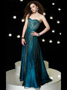 Hunter Taffeta Beaded Organza Sweetheart Neckline Flattering Full Length A-line Evening Dress