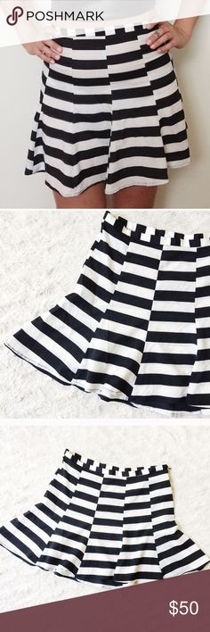 SMYM Skater Skirt Black and white striped, side zipper! Show Me Your MuMu Skirts Mini