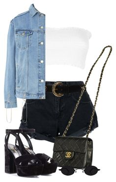 """Sin título #3636"" by camilae97 ❤ liked on Polyvore featuring Nobody Denim, ESCADA, Topshop, Melissa Joy Manning, Chanel and Yves Saint Laurent"