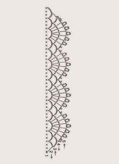 Crochet Patterns Lace Springtime Crocheted Accent Pillow ['Crochet chart lace edging by via F… Crochet Border Patterns, Crochet Boarders, Crochet Lace Edging, Crochet Diagram, Crochet Chart, Thread Crochet, Crochet Trim, Filet Crochet, Crochet Designs