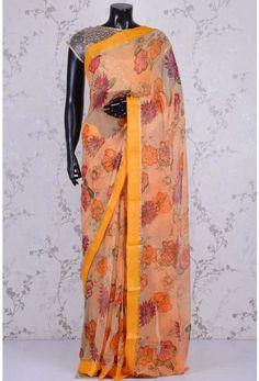 Blended Chiffon Zari-Cream Yellow-Printed-WK1087 Floral Print Sarees, Printed Sarees, Floral Prints, Yellow Print, Kimono Top, Chiffon, Cream, Tops, Women