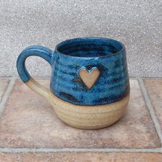 Cuddle mug coffee tea cup with a heart in stoneware hand thrown ceramic pottery