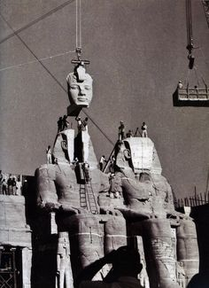 Egypt - The re-assembling of Abu Simbel in 1968.