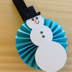 Handmade~  Snowman rosette Christmas clothespin by StuckOnACloud on Etsy
