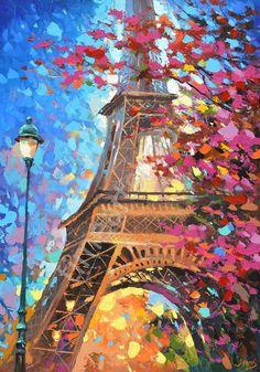 Осенний Париж, картина раскраска по номерам, размер 40*50см, картины своими руками. 750 руб.