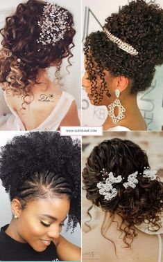 Penteados para Cabelos Cacheados African Wedding Hairstyles, Wedding Hairstyles For Girls, Natural Wedding Hairstyles, Ethnic Hairstyles, Holiday Hairstyles, Bride Hairstyles, Curled Hairstyles, Braiding Hair Colors, Natural Hair Wedding