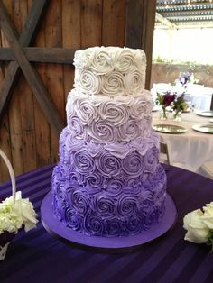 Purple Wedding Cake Wedding ideas for brides  So cool. Great for purple weddings