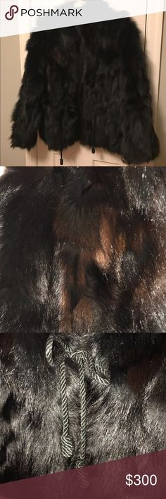 Fur mink coat jacket size medium. Beautiful cinch waist mink fur jacket with cinch drawstring waist and split sides, the fur is two tone mostly black with beautiful maroonish highlights. The picture doesn't show the maroon very well. No monogram inside. Excellent condition. Jackets & Coats