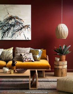 Ideas to paint and decorate magically with terracotta color Burgundy Living Room, Living Room Orange, Living Room Colors, Living Room Art, Interior Design Living Room, Living Room Designs, Interior Styling, Decoration, Home Decor