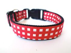 Collar Gingham red by usagiteam on Etsy, $19.00